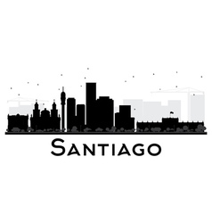 Santiago City skyline black and white silhouette vector