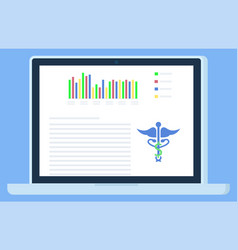 screen computer with medical document vector image