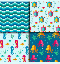 seamless patterns with nautical elements vector image