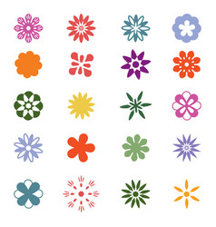 set colorful flower icon vector image