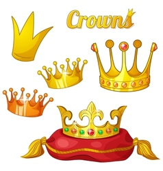 set royal gold crowns with gems isolated on vector image