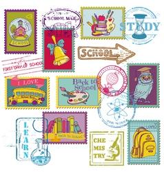 set school stamps vector image