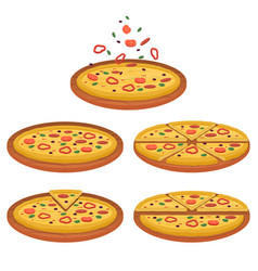 set tasty pizza pizza sliced vector image