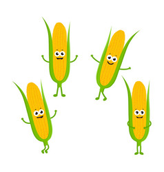 set with cartoon corn vector image
