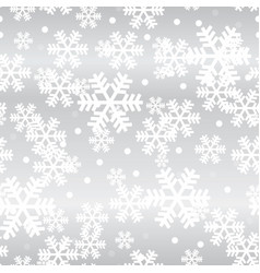 silver christmas snowflakes seamless pattern vector image