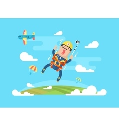 Skydiving sport flat vector
