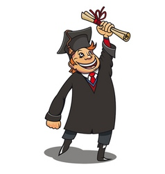 smiling student with diploma for education concept vector image