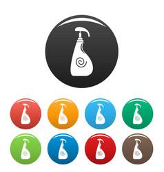 Sunscreen dispenser icons set color vector