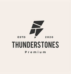 thunder stones hipster vintage logo icon vector image
