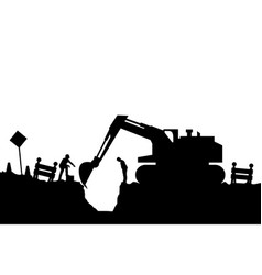 Tractor and builders silhouette vector