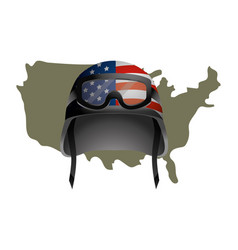 united state map and military helmet vector image