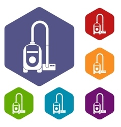 Vacuum cleaner icons set vector