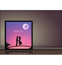 Valentine day love story concept in photo frame vector image