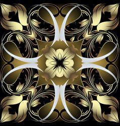 vintage floral gold paisley damask baroque vector image