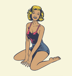 Vintage hand drawing pinup girl sit on floor vector