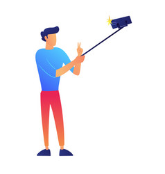 Vlogger taking selfie with a selfie stick vector
