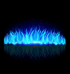 Wall of blue fire with weak reflection on black vector
