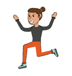 Woman doing exercise sport or fitness related icon vector
