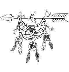 wooden arrow with feathers vector image