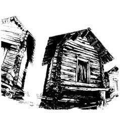 wooden houses vector image