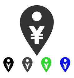 Yen map marker flat icon vector