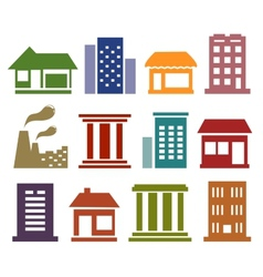 colorful icons with urban architecture vector image vector image