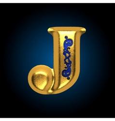 golden letter j vector image vector image