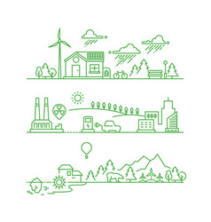 outline eco city future ecological green vector image