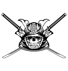 skull in samurai helmet and crossed katanas vector image vector image