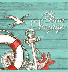 travel background with lifebuoy and anchor vector image