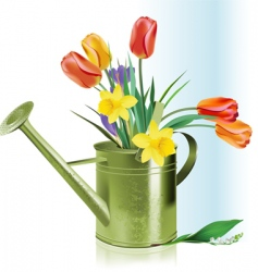 watering can and flowers vector image vector image