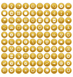 100 graphic elements icons set gold vector