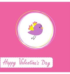 cute violet bird Happy Valentines Day vector image vector image