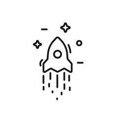 start up business outlined line icon rocket vector image