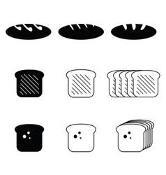 Bread food fresh set vector