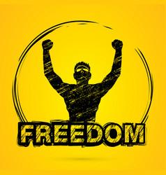 Freedom man the winner graphic vector