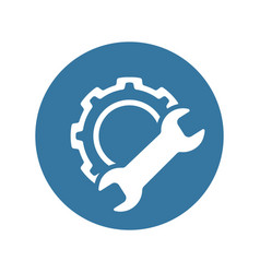 manufacturing icon gear and wrench service vector image