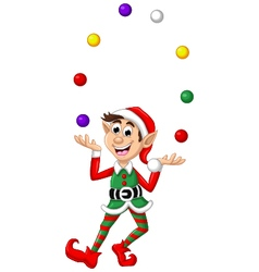 Christmas elf playing balls vector image