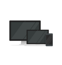 Desktop pc with laptop computer and smartphone vector