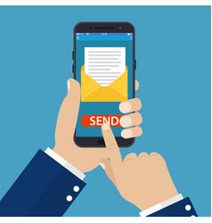 hand holding smart phone in hand with email vector image
