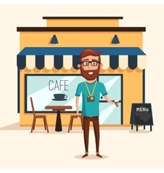 Hipster man with beard and photo camera near cafe vector image vector image
