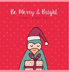 merry christmas red penguin cartoon greeting card vector image