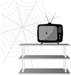 old tv with spider vector image