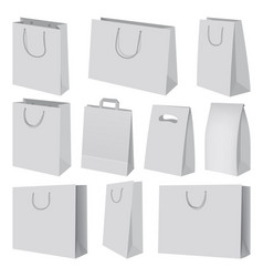 paper bag mockup set realistic style vector image