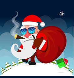 Santa claus pulls a heavy bag full of gifts on vector