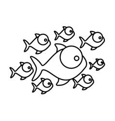silhouette set collection fish aquatic animal vector image