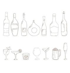 Sketch of wine bottles vector image