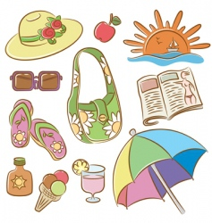 summer female vacation icons set vector image