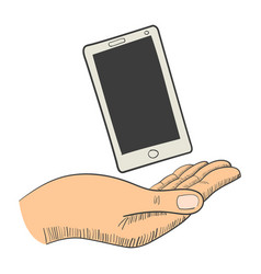 a hand with a smart phone vector image