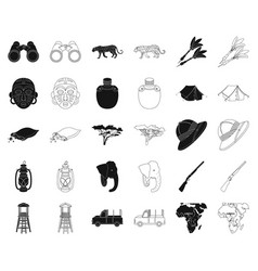 african safari blackoutline icons in set vector image